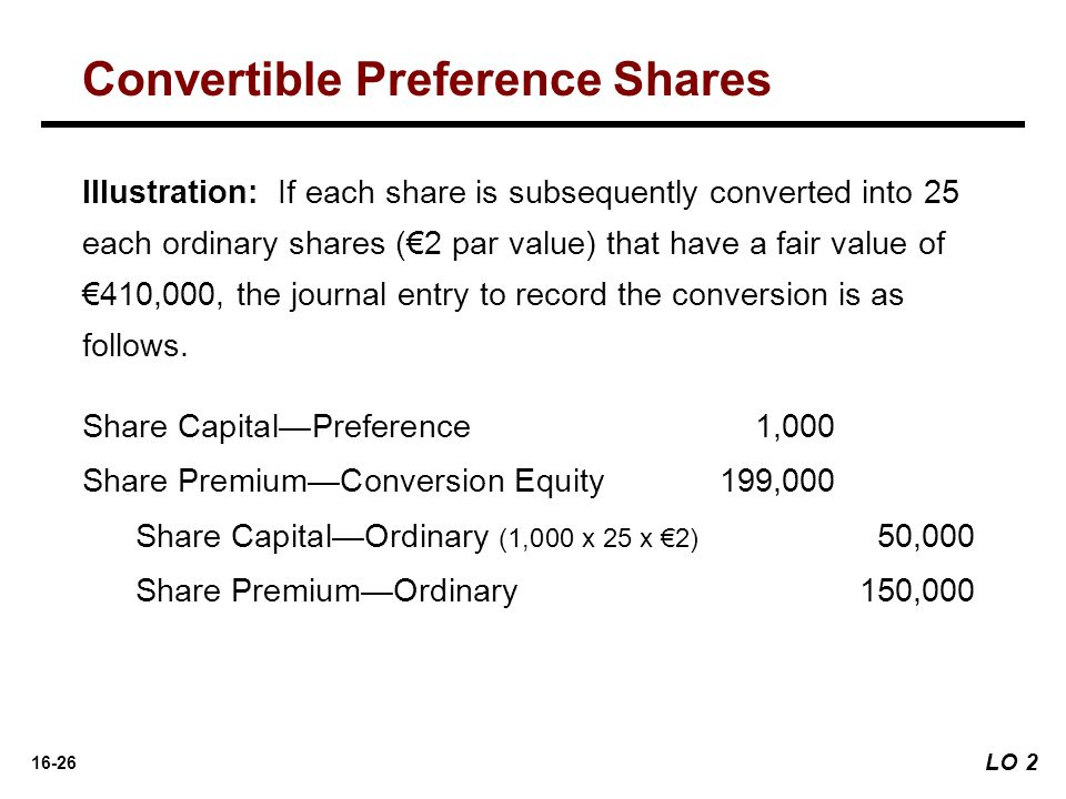 16-26 Illustration: If each share is subsequently converted into 25 each ordinary shares (€2 par value) that have a fair value of €410,000, the journa