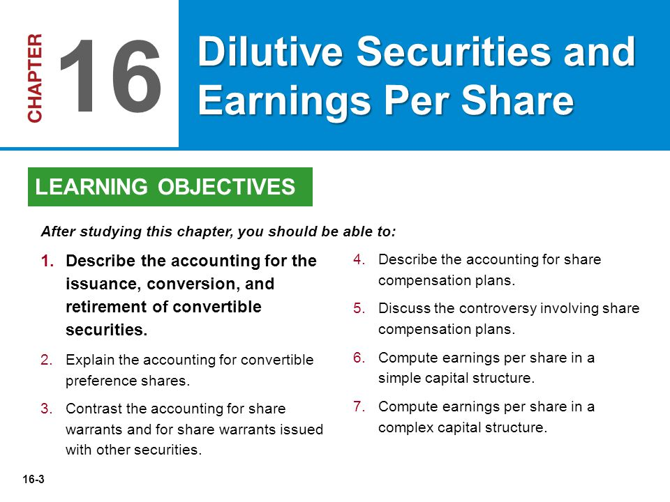 16-3 4.Describe the accounting for share compensation plans. 5.Discuss the controversy involving share compensation plans. 6.Compute earnings per shar