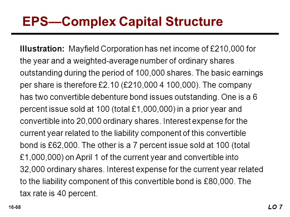 16-68 Illustration: Mayfield Corporation has net income of £210,000 for the year and a weighted-average number of ordinary shares outstanding during the period of 100,000 shares.