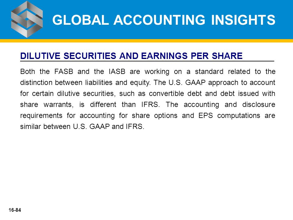 16-84 DILUTIVE SECURITIES AND EARNINGS PER SHARE Both the FASB and the IASB are working on a standard related to the distinction between liabilities a
