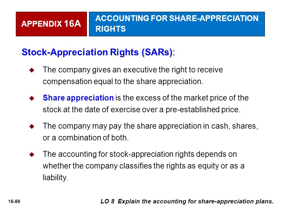 16-89 Stock-Appreciation Rights (SARs):  The company gives an executive the right to receive compensation equal to the share appreciation.