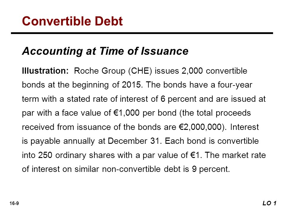 16-9 Accounting at Time of Issuance Illustration: Roche Group (CHE) issues 2,000 convertible bonds at the beginning of 2015. The bonds have a four-yea