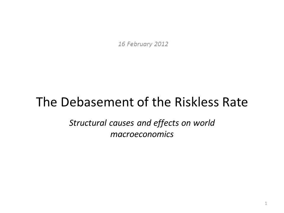 Finance and the Riskless Rate What is Finance.