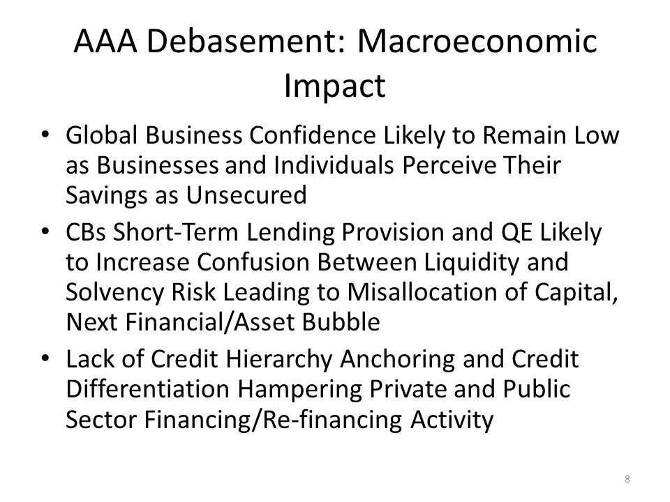 Desirable Outcomes True AAA Lender/Borrowers (China, Germany, Canada, etc.) and C/A Surplus Countries (Russia, Brazil, India, etc.) to Establish Voluntary Global AAA Fund Which Lends to Countries and Banks Against Streamlined, Market-Based Conditionality Global AAA Fund Resources to be Provided Through Up-front Cash + Issuance of a Global AAA Bond True Global Longer-Term AAA Lending, Coupled with AAA Issuance to Provide Credible Anchor to Global Credit Hierarchy Struggling European Countries to Re-acquire Credit Standing Differentiation Implied Chinese Capital Market as a By-product of AAA-Global- Bond Issuance Sets off Additional Global Reserve Currency US to Compete for Global Savings; Budget Deficit to Be Tackled by Congress Sooner Rather than Later 9