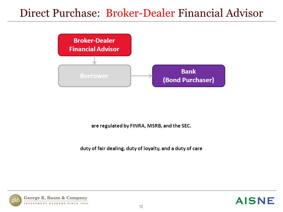 12 Direct Purchase: Broker-Dealer Financial Advisor Broker-Dealers, acting in the capacity of financial advisor, are regulated by FINRA, MSRB, and the