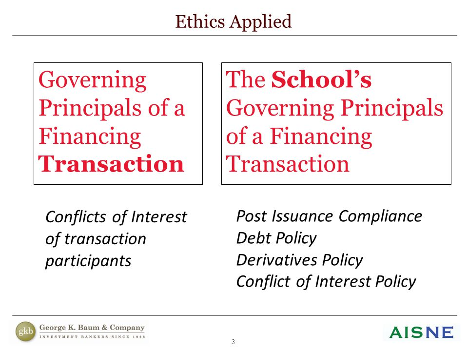 3 The School's Governing Principals of a Financing Transaction Ethics Applied Governing Principals of a Financing Transaction Conflicts of Interest of