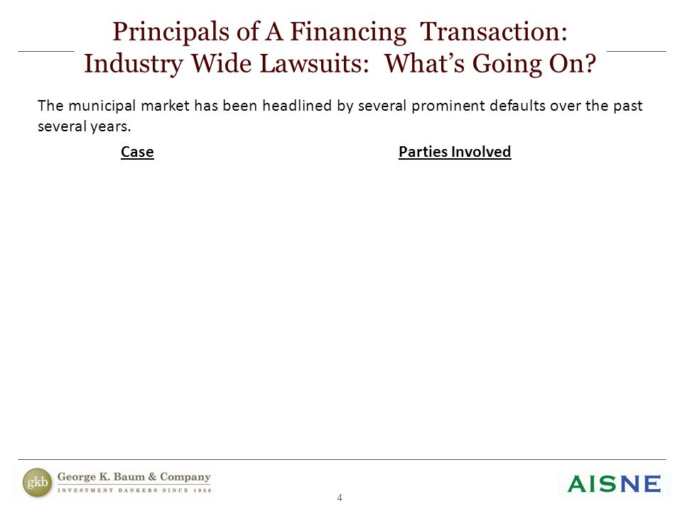 4 Principals of A Financing Transaction: Industry Wide Lawsuits: What's Going On? The municipal market has been headlined by several prominent default