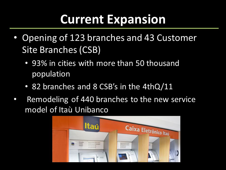 Current Expansion Opening of 123 branches and 43 Customer Site Branches (CSB) 93% in cities with more than 50 thousand population 82 branches and 8 CSB's in the 4thQ/11 Remodeling of 440 branches to the new service model of Itaù Unibanco