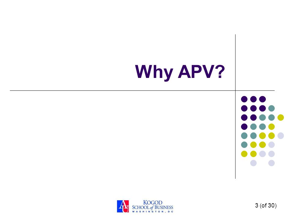 2 (of 30) Learning Objectives 1. Explain the conditions for using adjusted present value (APV).▪ 2.