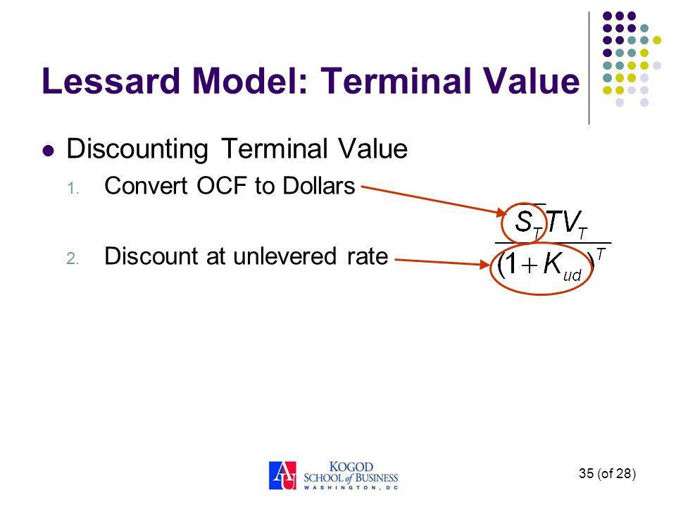 Lessard Model: Interest/Debt Interest Tax Shields 1. Find annual tax advantage 2. Convert CF to dollars 3. Discount at cost of debt 34 (of 28)