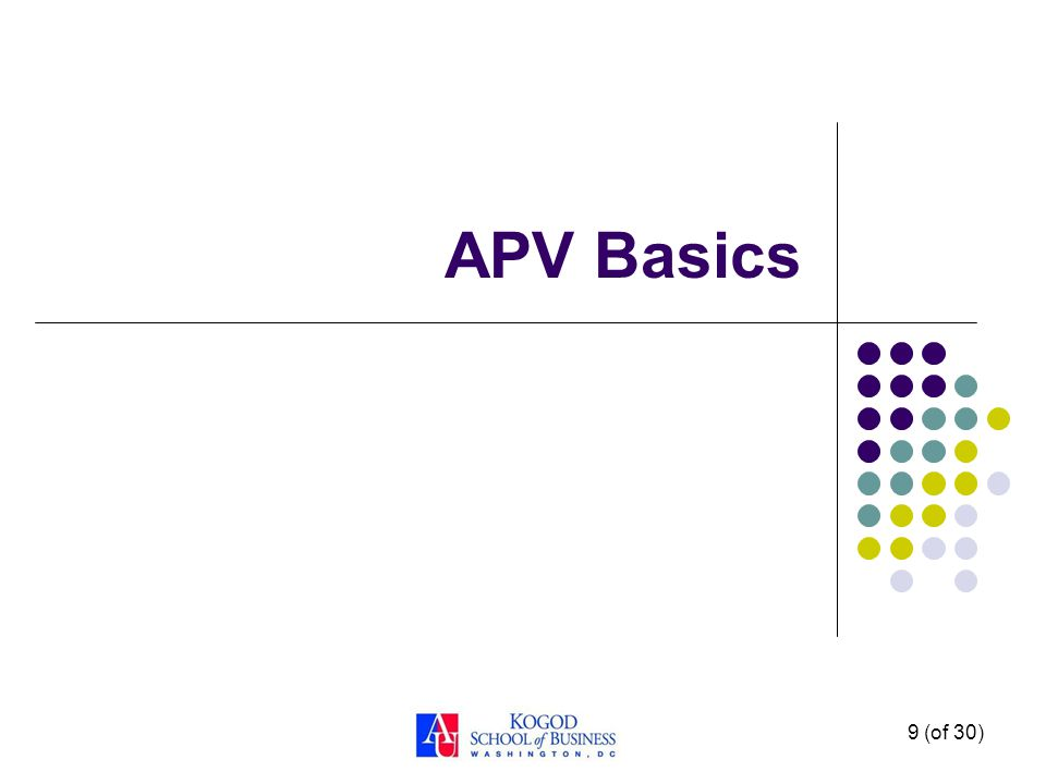 Why APV? APV is better at: Accurate Valuation of Financing Values Providing Information on the Sources of Value APV can include features NPV cannot: R