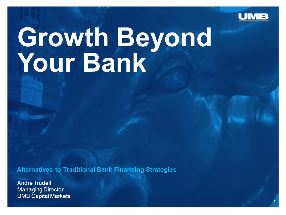Growth Beyond Your Bank Alternatives to Traditional Bank Financing Strategies Andre Trudell Managing Director UMB Capital Markets 1