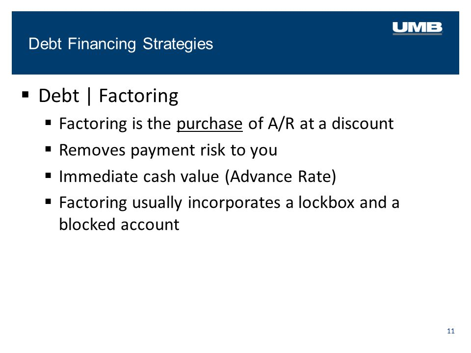 Debt Financing Strategies 11  Debt   Factoring  Factoring is the purchase of A/R at a discount  Removes payment risk to you  Immediate cash value