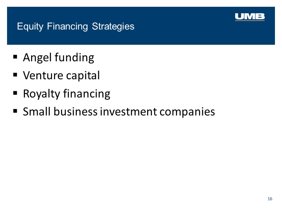 Equity Financing Strategies 16  Angel funding  Venture capital  Royalty financing  Small business investment companies