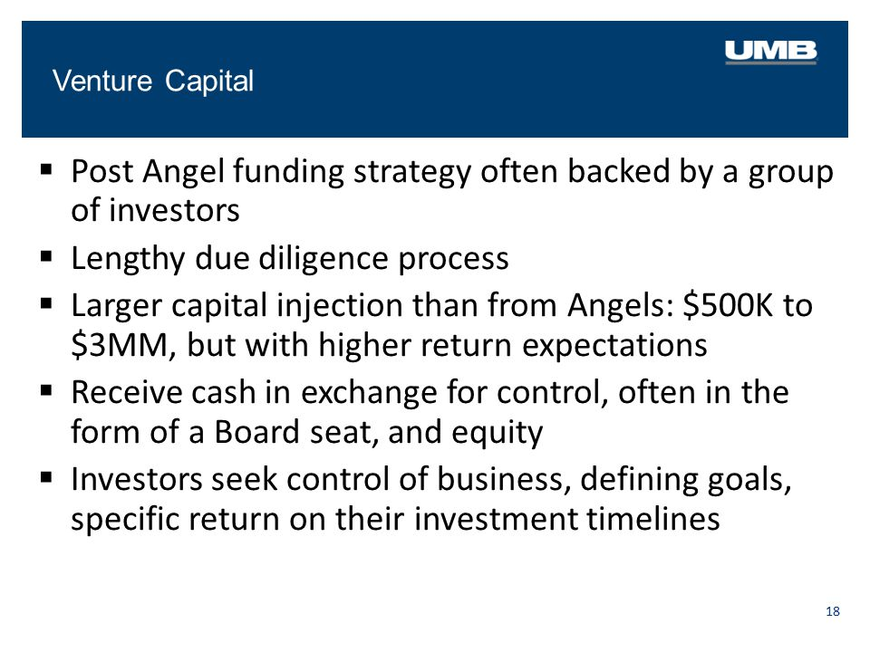 Venture Capital 18  Post Angel funding strategy often backed by a group of investors  Lengthy due diligence process  Larger capital injection than