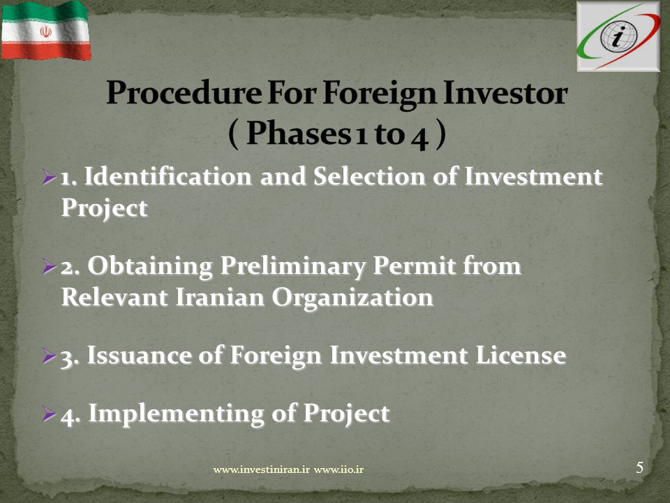  Investment Licensing Procedure : Simplified, Short and Transparent Simplified, Short and Transparent Submission Of Application Submission Of Application Final License Issued Final License Issued Draft License Communicated Draft License Communicated Preparation And Submission Of a Report Preparation And Submission Of a Report Foreign Investment Board Foreign Investment Board OIETAI 6 www.investiniran.ir www.iio.ir Max 5 DaysMax 10 Days