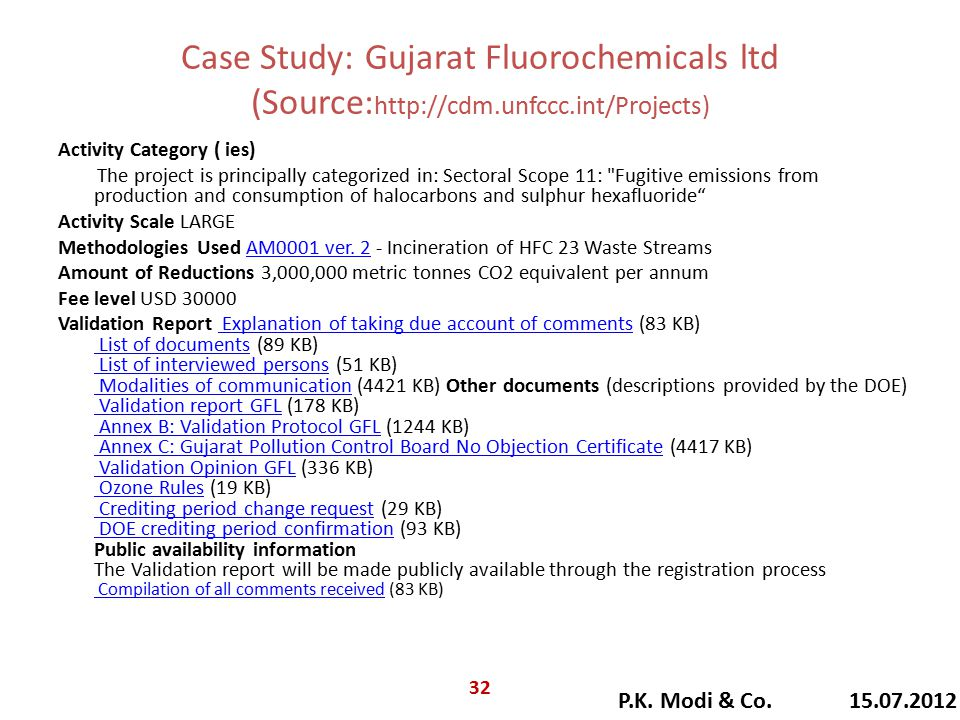 Case Study: Gujarat Fluorochemicals ltd (Source: http://cdm.unfccc.int/Projects) Activity Category ( ies) The project is principally categorized in: Sectoral Scope 11: Fugitive emissions from production and consumption of halocarbons and sulphur hexafluoride Activity Scale LARGE Methodologies Used AM0001 ver.