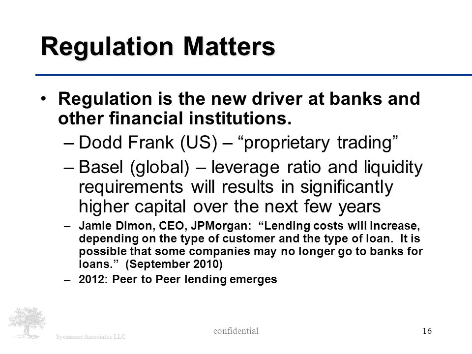 "Sycamore Associates LLC Regulation Matters Regulation is the new driver at banks and other financial institutions. –Dodd Frank (US) – ""proprietary tra"