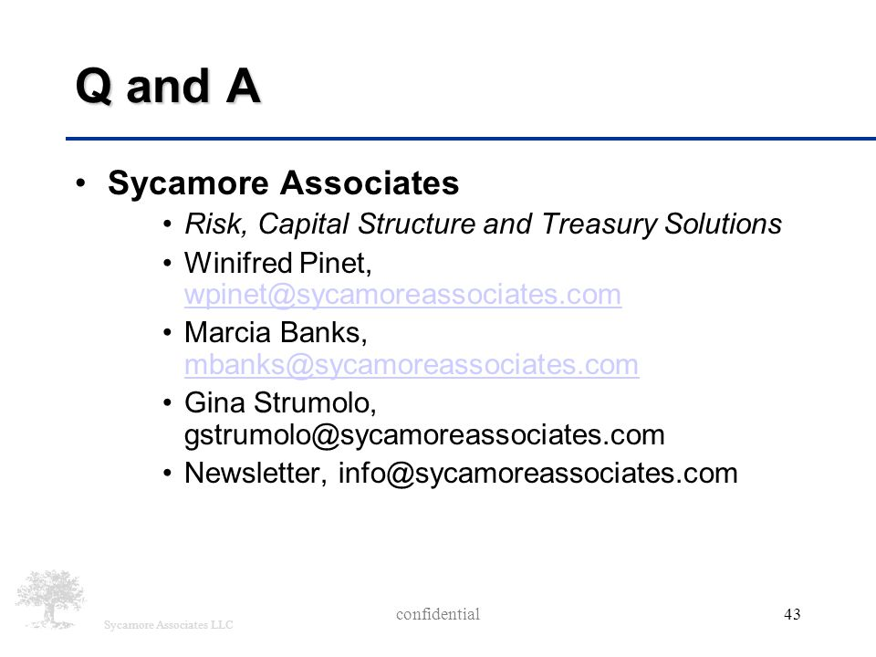 Sycamore Associates LLC Q and A Sycamore Associates Risk, Capital Structure and Treasury Solutions Winifred Pinet, wpinet@sycamoreassociates.com wpine