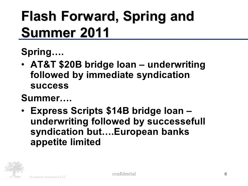 Sycamore Associates LLC Flash Forward, Spring and Summer 2011 Spring…. AT&T $20B bridge loan – underwriting followed by immediate syndication success