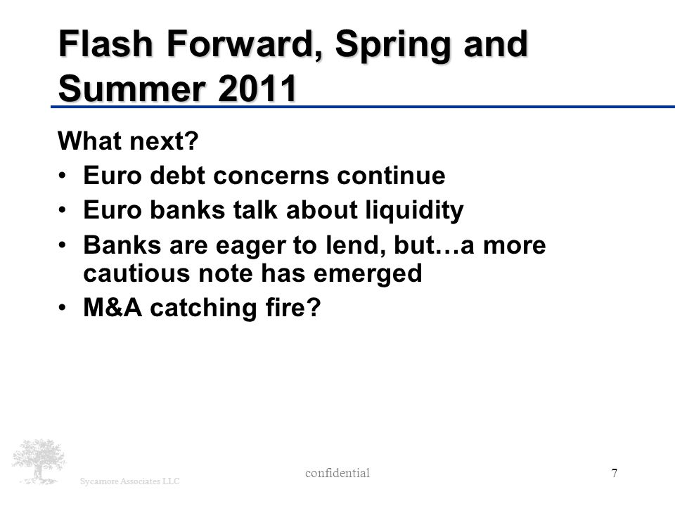 Sycamore Associates LLC Flash Forward, Spring and Summer 2011 What next? Euro debt concerns continue Euro banks talk about liquidity Banks are eager t