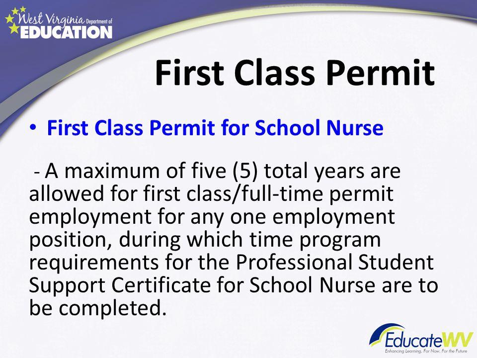 First Class Permit First Class Permit for School Nurse 11.1.4.