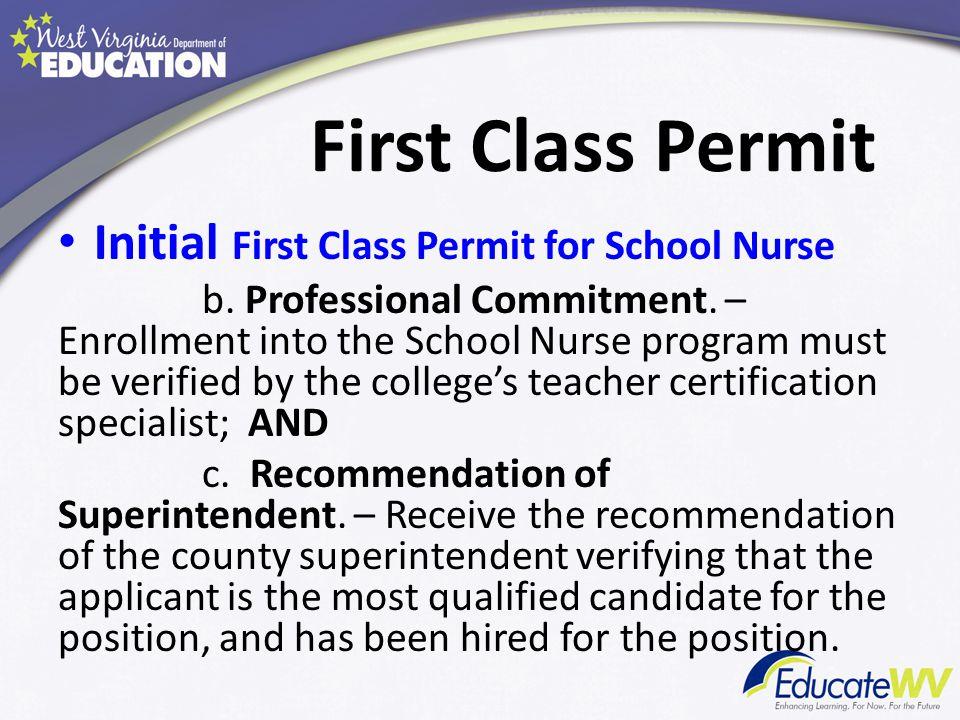 First Class Permit Initial First Class Permit for School Nurse d.