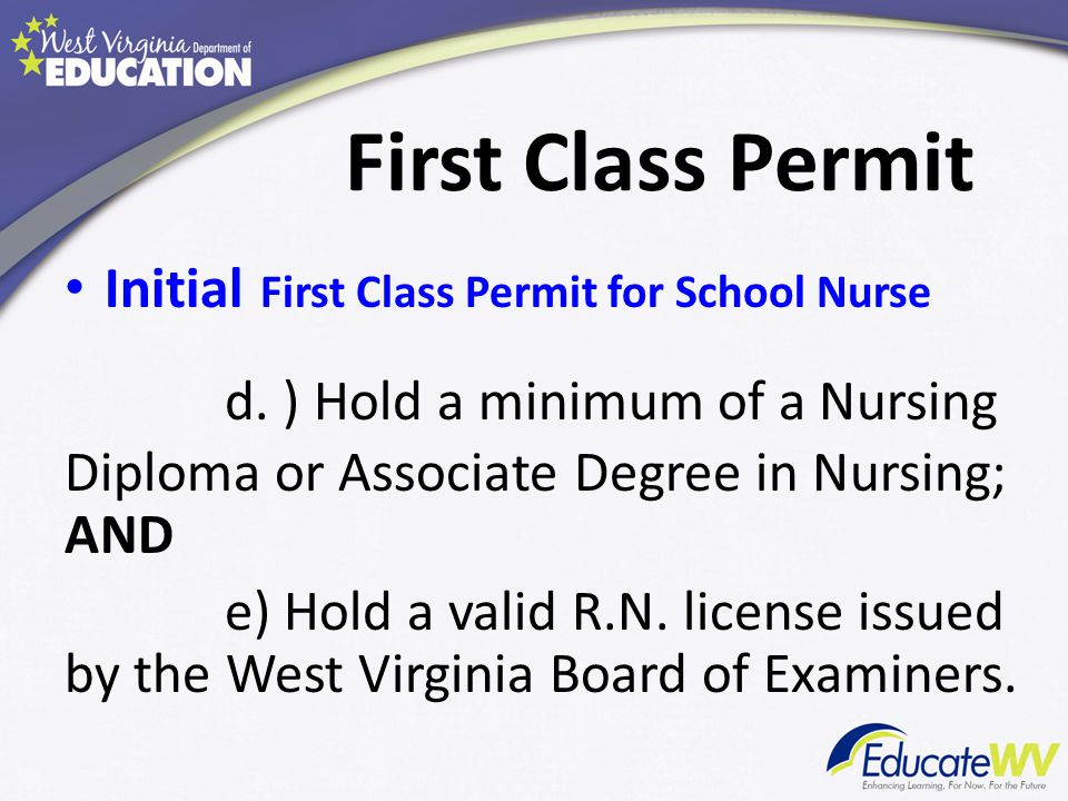 First Class Permit First Class Permit for School Nurse - Renewal Six (6) appropriate renewal hours as determined by the college must be completed each year for permit renewal.