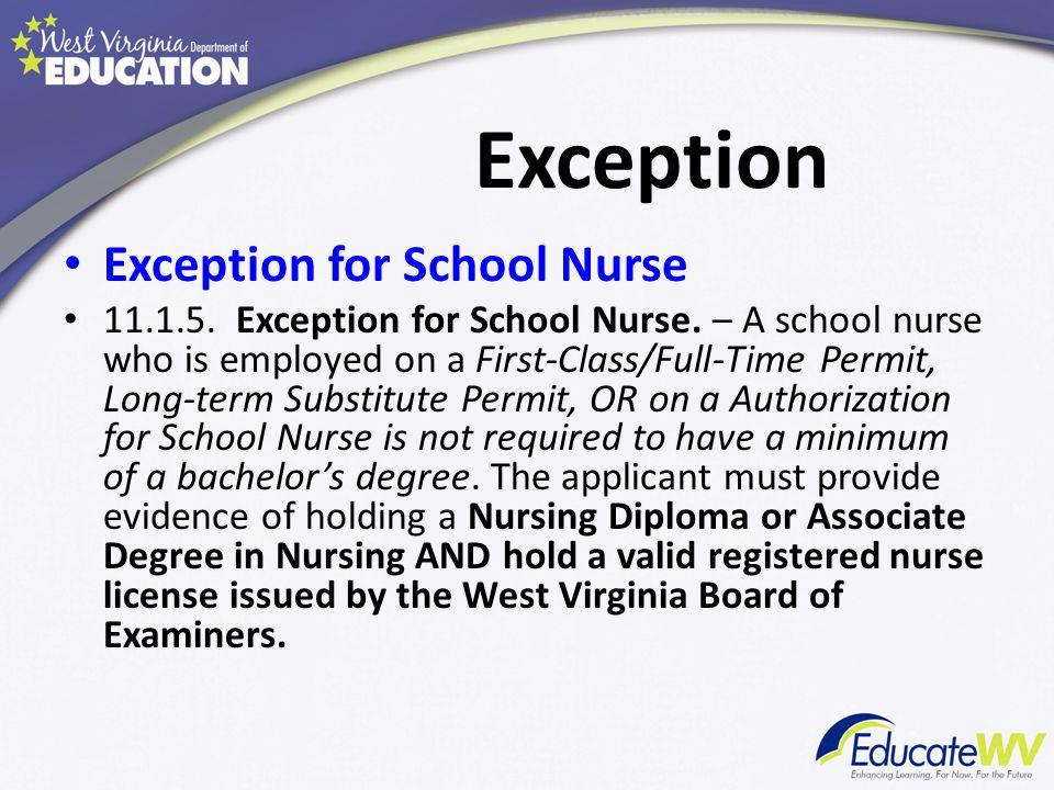 Exception Exception for School Nurse 11.1.5. Exception for School Nurse.