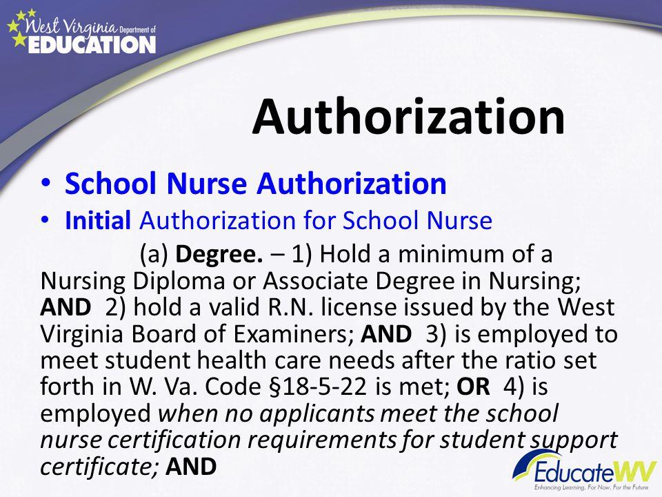 Authorization School Nurse Authorization Initial Authorization for School Nurse (a) Degree.