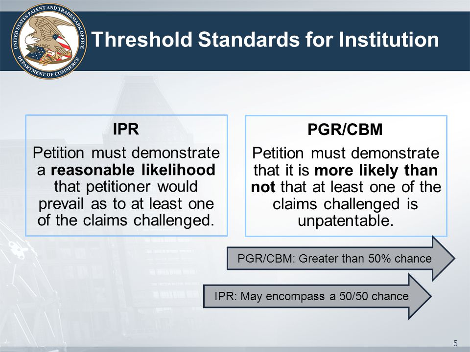 Threshold Standards for Institution IPR Petition must demonstrate a reasonable likelihood that petitioner would prevail as to at least one of the claims challenged.