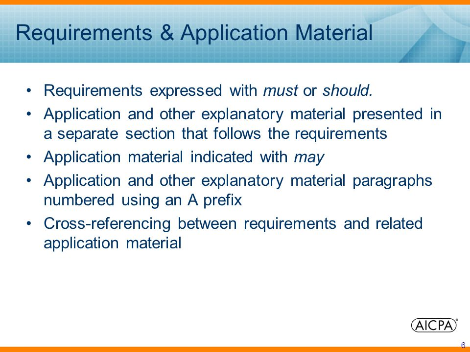 6 Requirements & Application Material Requirements expressed with must or should.