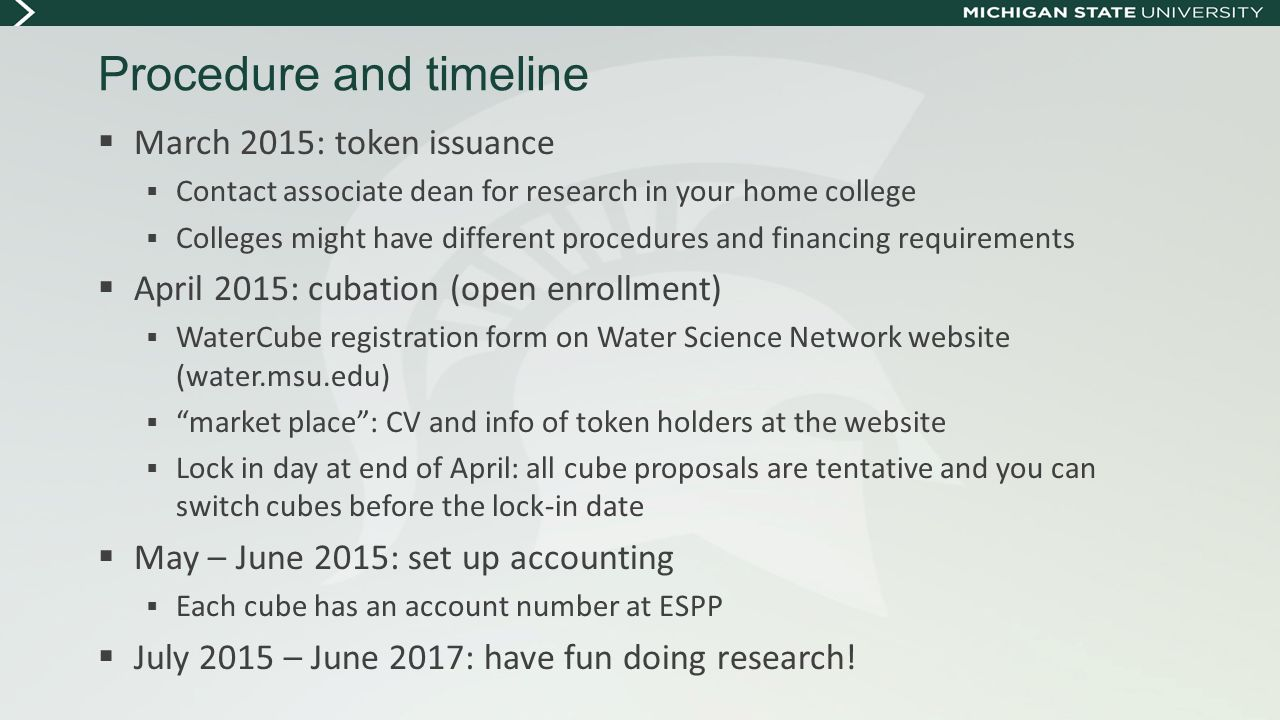 Procedure and timeline  March 2015: token issuance  Contact associate dean for research in your home college  Colleges might have different procedu