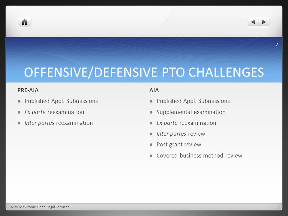 OFFENSIVE/DEFENSIVE PTO CHALLENGES May Mowzoon: Dana Legal Services PRE-AIA Published Appl. Submissions Ex parte reexamination Inter partes reexaminat