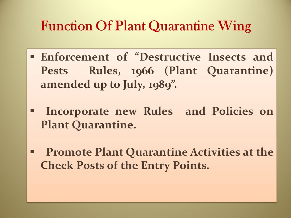 "Function Of Plant Quarantine Wing  Enforcement of ""Destructive Insects and Pests Rules, 1966 (Plant Quarantine) amended up to July, 1989"".  Incorpor"