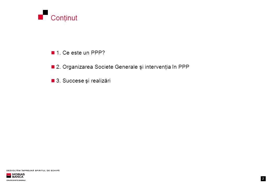 22 Conţinut 1. Ce este un PPP. 2. Organizarea Societe Generale şi intervenţia în PPP 3.