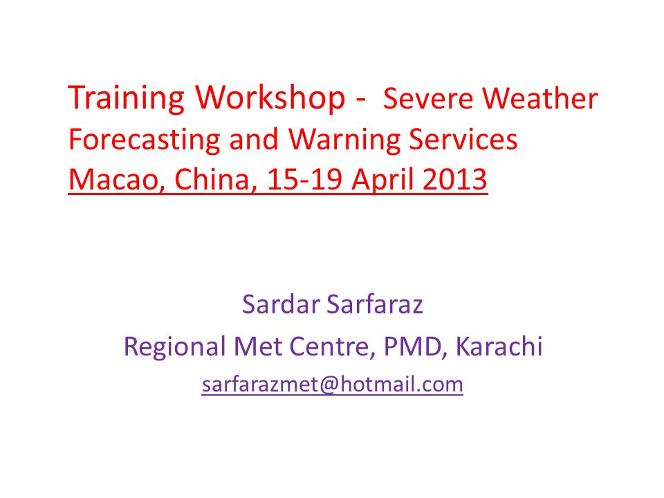 Brief Introduction of Pakistan Meteorological Department Pakistan Meteorological Department Secretary: Ministry of Defence Director General Chief Meteorologist ForecastingFloodDrought - AgrometSeismicResearch Chief Meteorologist Chief Admin Officer 2 - DIRECTORS3 - DIRECTORS2 - DIRECTORS3 - DIRECTORS6 - DIRECTORS 20 - Dy.