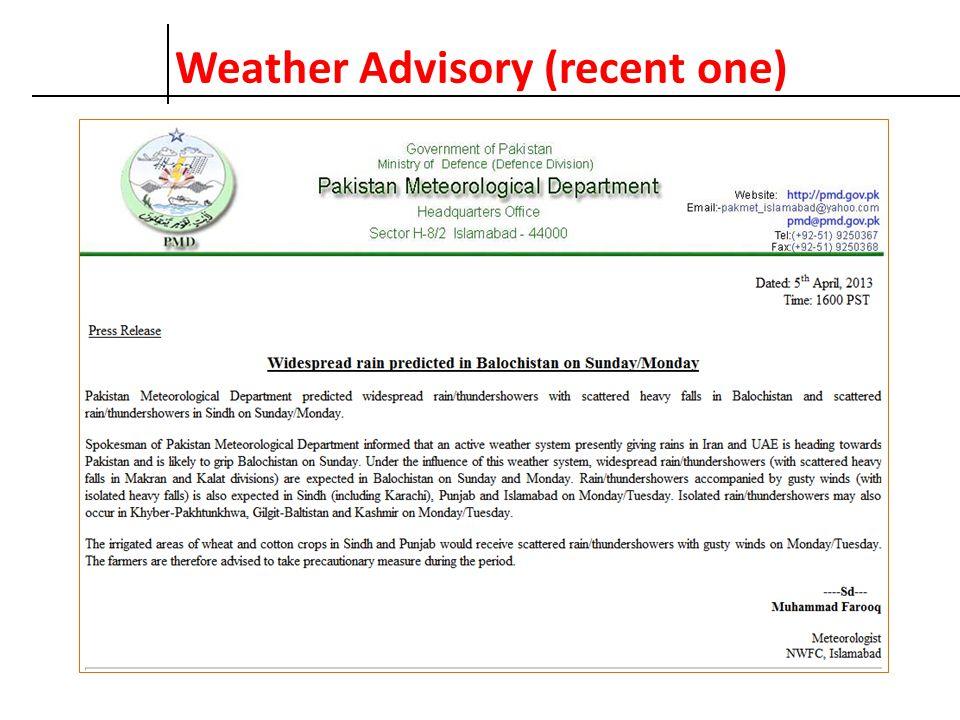 Weather Advisory (recent one)
