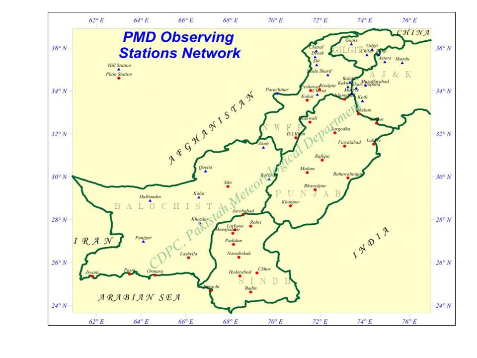 National Weather Forecasting Office, Islamabad and Tropical Cyclone Warning Centre, Karachi NDMA/PDMAs/ DDMAs District/local GovtsCBOs Media/print & electronic NGOs High Govt officials KPT PN Information Flow N(P/D)DMA- National/Provincial/District Disaster Management Authority, KPT – Karachi Port Trust, PN – Pakistan Navy, CBOs- Community Based Organizations