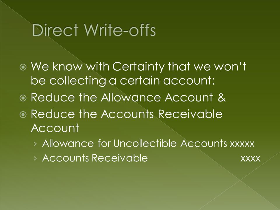  We know with Certainty that we won't be collecting a certain account:  Reduce the Allowance Account &  Reduce the Accounts Receivable Account › Allowance for Uncollectible Accounts xxxxx › Accounts Receivable xxxx