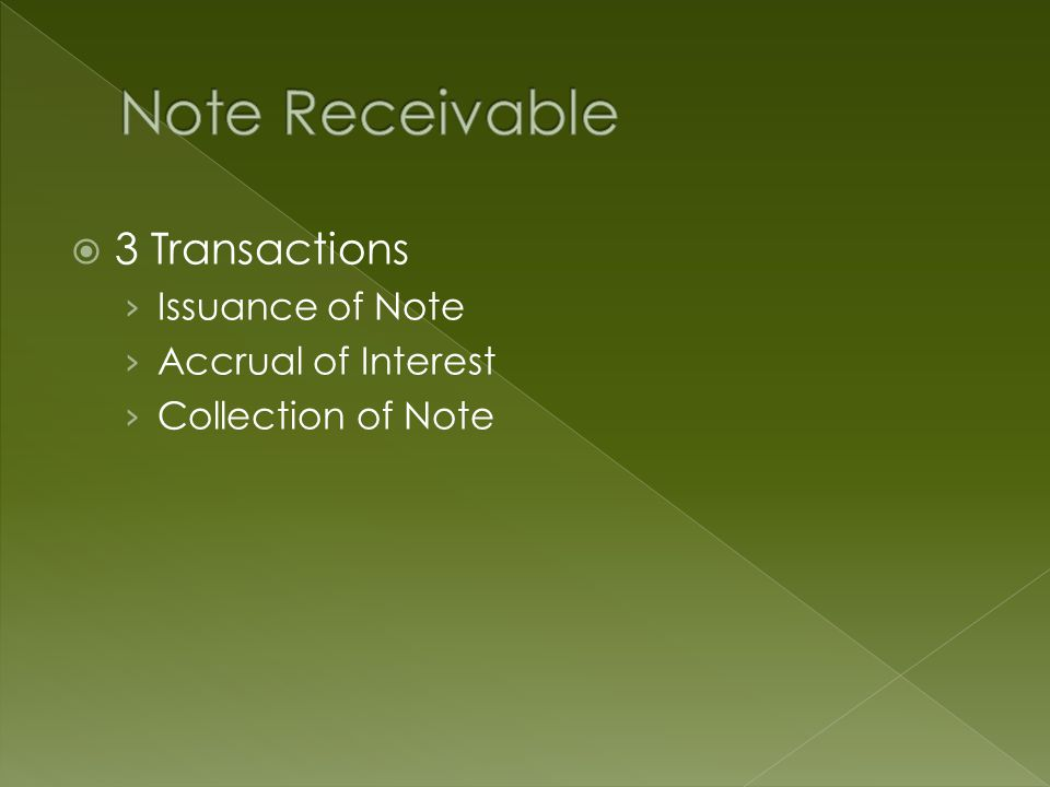  3 Transactions › Issuance of Note › Accrual of Interest › Collection of Note