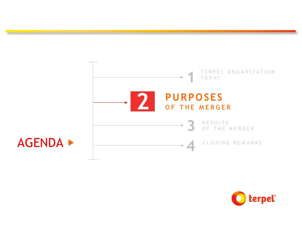 3 RESULTS OF THE MERGER 2 TERPEL ORGANIZATION TODAY 1 2 PURPOSES OF THE MERGER 4 CLOSING REMARKS AGENDA