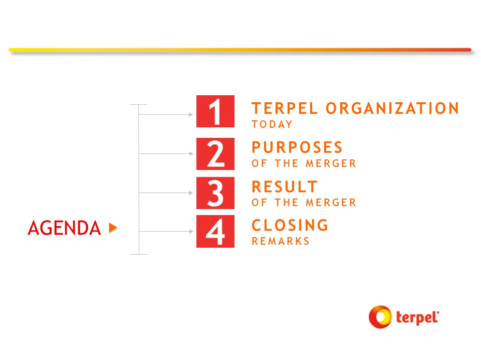 2 PURPOSES OF THE MERGER CLOSING REMARKS 4 3 RESULT OF THE MERGER TERPEL ORGANIZATION TODAY 1 AGENDA