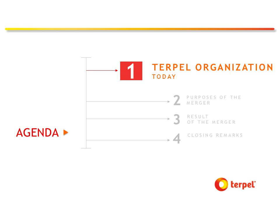 MORE THAN 45 YEARS 1971-1993 TERPELS CREATION 2001 CREATION OF SIE, CONSOLIDATING 75% OF TERPELS 2005-2008 REGIONAL EXPANSION AND GAZEL ADQUISITION 2009 TERPEL MERGER, SIE LISTING AND CREATION OF PROENERGÍA 1968 TERPEL B/MANGA IS BORN 2014 TERPELS' CONSOLIDATION PROCESS FINALIZED TERPEL DEL CENTRO ACQUIRES MAJORITY PARTICIPATION AND LISTING OF PROENERGÍA 2010 GROWTH MOBILIZING 2013 ISSUANCE OF AAA BONDS 2012 TERPEL ORGANIZATION AND GAZEL MERGER 2004 CREATION OF TERPEL ORGANIZATION
