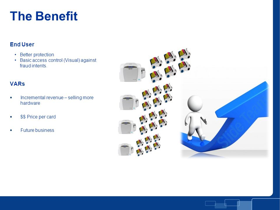 End User VARs  Incremental revenue – selling more hardware  $$ Price per card  Future business The Benefit Better protection Basic access control (Visual) against fraud intents.