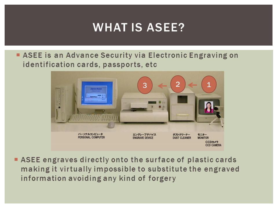  ASEE is an Advance Security via Electronic Engraving on identification cards, passports, etc WHAT IS ASEE.