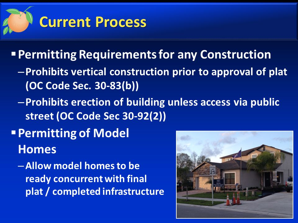  Permitting Requirements for any Construction – Prohibits vertical construction prior to approval of plat (OC Code Sec.