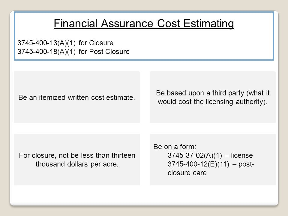 Financial Assurance Cost Estimating 3745-400-13(A)(1) for Closure 3745-400-18(A)(1) for Post Closure Be an itemized written cost estimate.