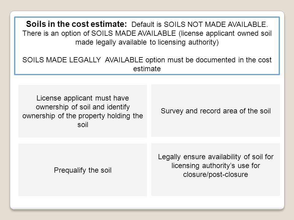 Soils in the cost estimate: Default is SOILS NOT MADE AVAILABLE.