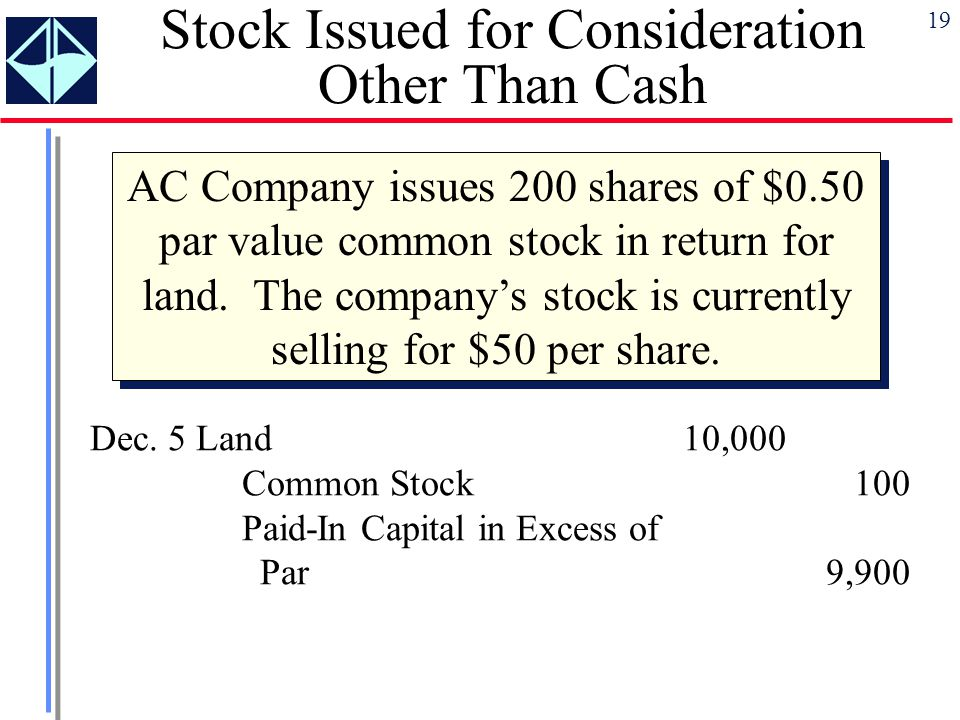 19 Stock Issued for Consideration Other Than Cash AC Company issues 200 shares of $0.50 par value common stock in return for land. The company's stock